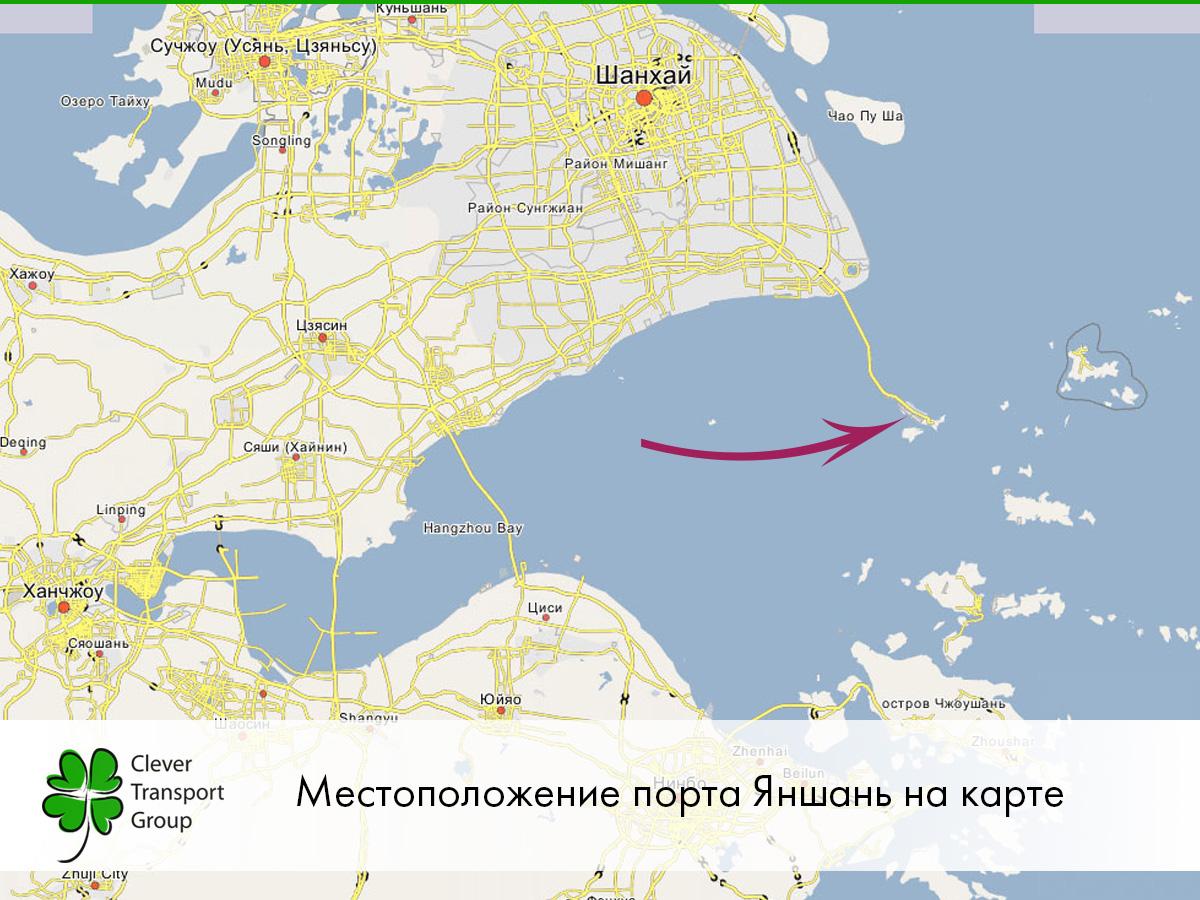 Расположение порта Яншань на карте
